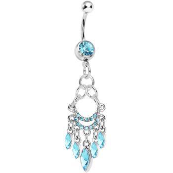 Light Blue Gem Chandelier Belly Ring Cute Belly Rings Belly Rings Body Jewelry