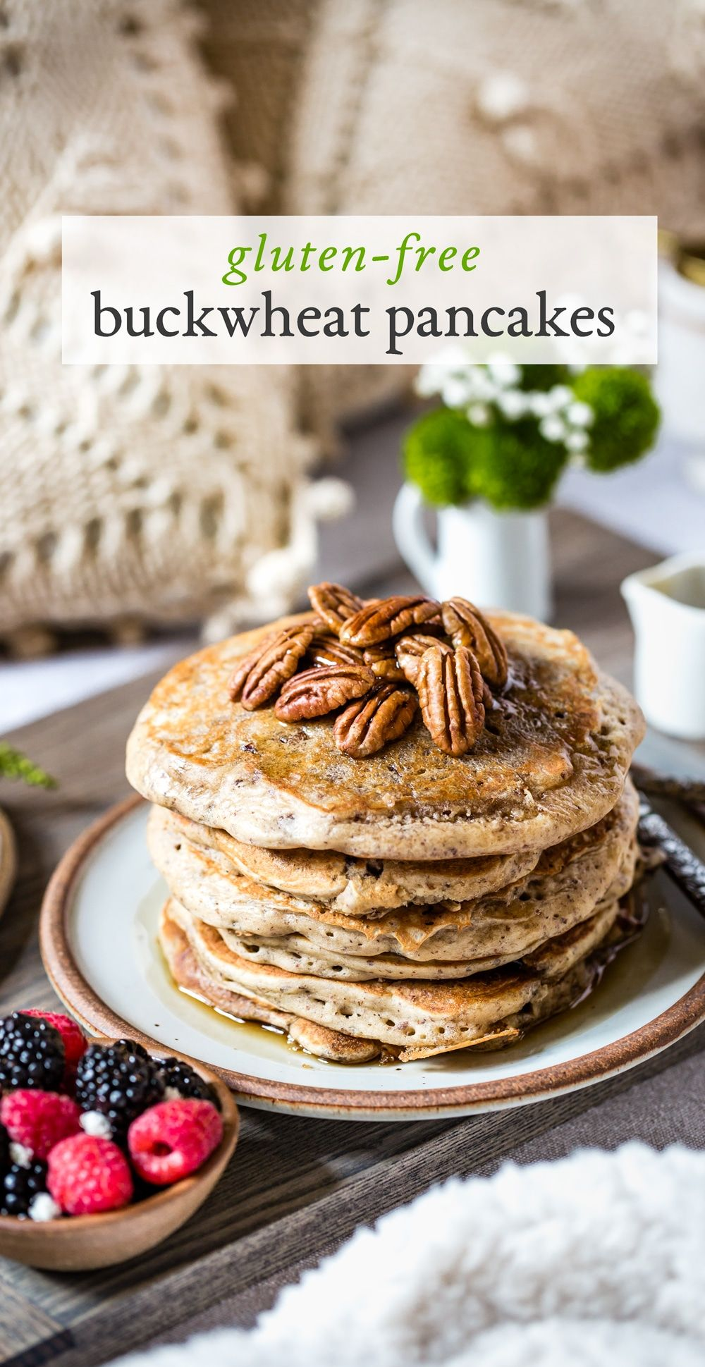 Gluten Free and Maple Sweetened Buckwheat Pancakes #glutenfreebreakfasts
