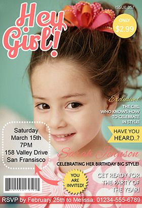Hey girl magazine cover printable invitation customize add text free printable birthday invitation templates for kids stopboris Image collections
