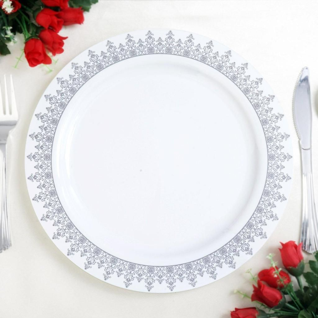 10 Pack 10 White Plastic Disposable Round Dinner Plates With Silver Ornament Hot Stamped Ri Plastic Dinnerware Plastic Party Plates Elegant Plastic Dinnerware