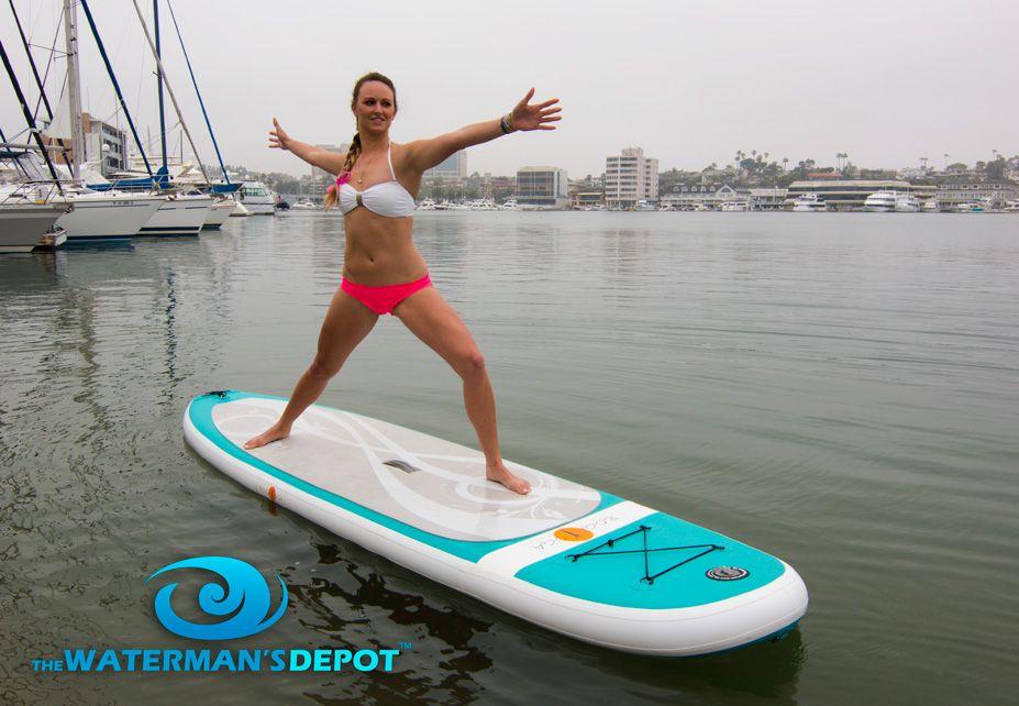 Alyssa on the Boga Yoga Inflatable Paddleboard. Paddle