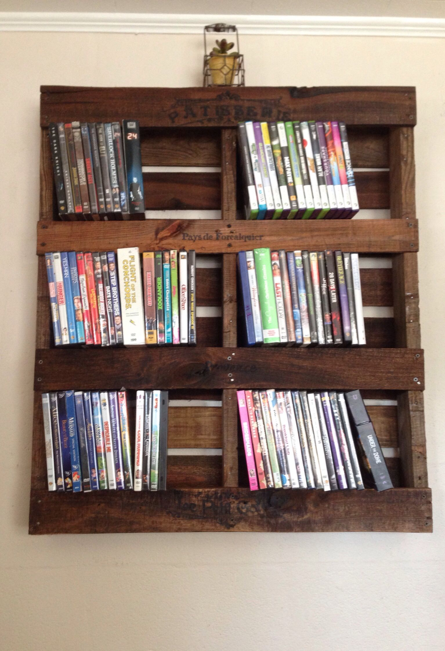 rustic pallet dvd shelf arts and crafts i 39 ve made pinterest dvd regal dvd aufbewahrung. Black Bedroom Furniture Sets. Home Design Ideas