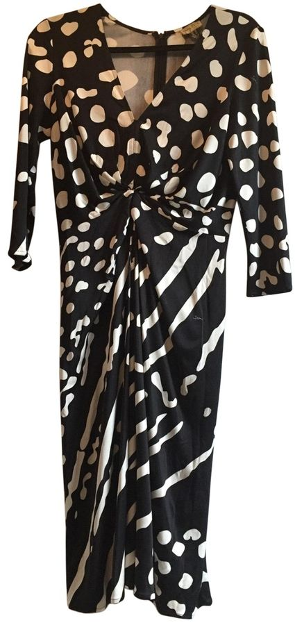 ISSA Black and white silk dress