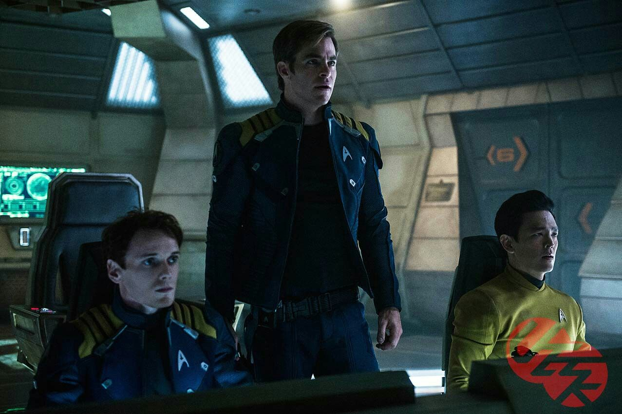 Star Trek Beyond actors Anton Yelchin, Chris Pine, and Jon Cho. Chekov, Kirk, and Sulu