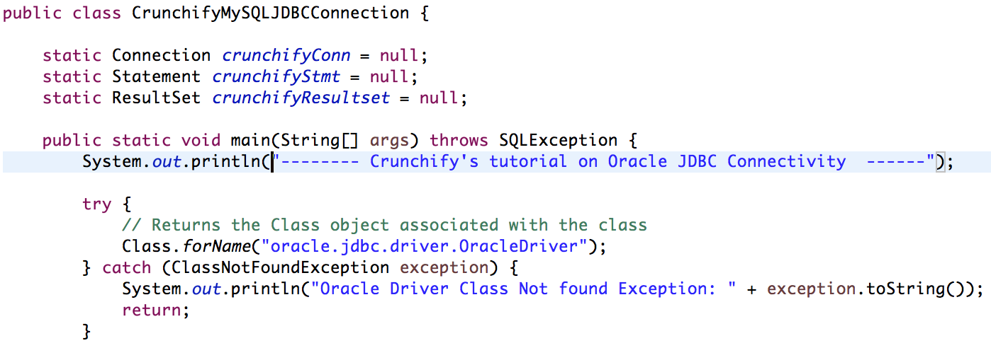 Simple Oracle Database Jdbc Connect And Executequery Example In
