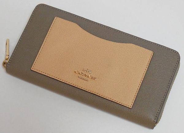 コーチ 財布 レディース COACH 53678LIERK カラーブロック クロスグレイン レザー ジップ長財布 グレー