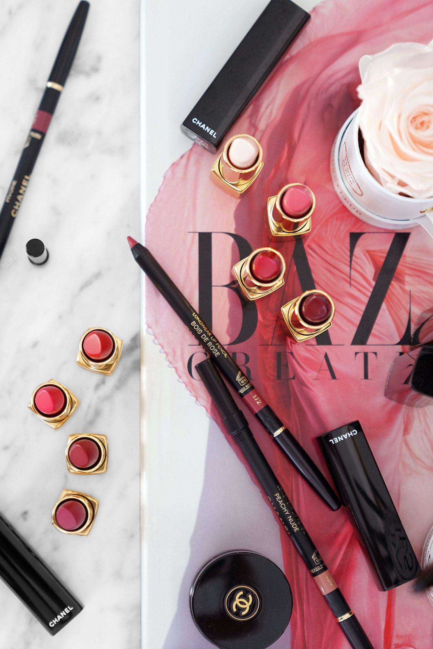 Chanel Rouge Allure Camelia + New Longwear Lip Pencils in