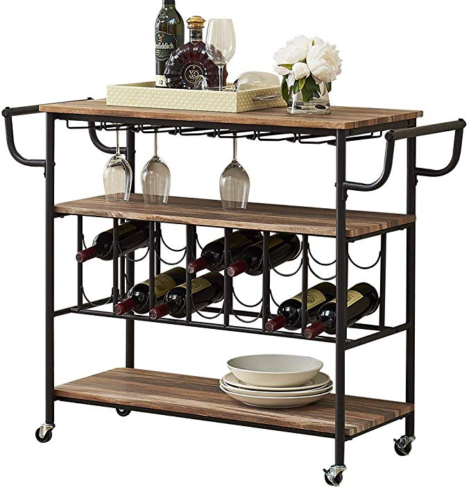Amazon Com Homyshopy Industrial Bar Cart With Wine Rack And