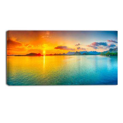 DesignArt Bright Sunset Panorama Photographic Print on Wrapped ...