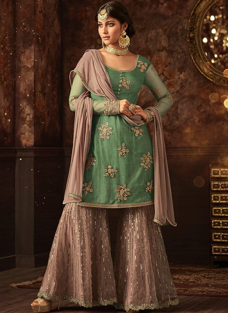 90259faed9 Light Green and Mauve Grey Embroidered Net Sharara Suit