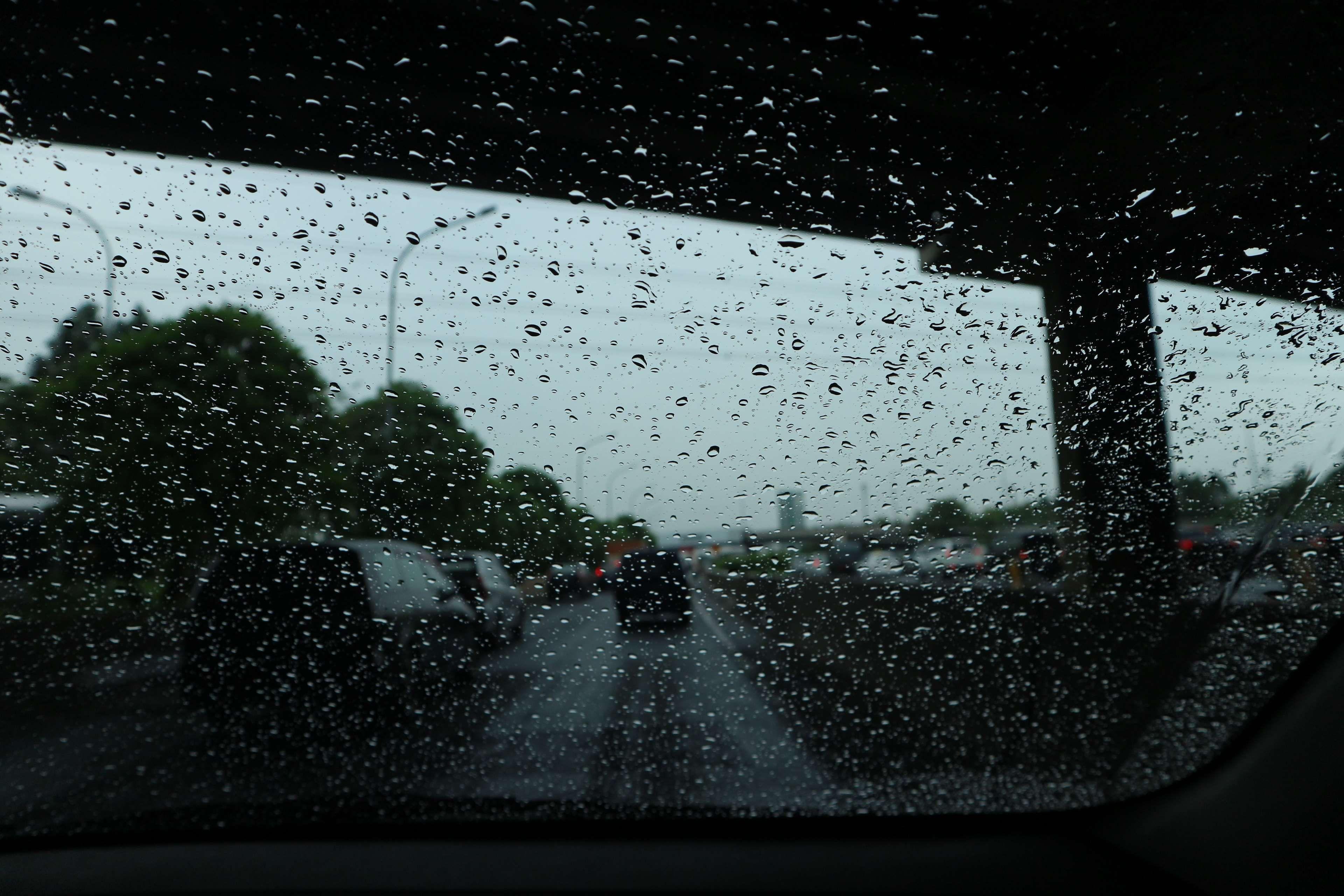 bridge #car #cloudy #cloudy skies #rain #road #storm