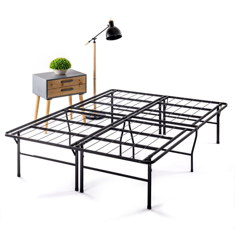 California King Metal Platform Bed Frame Bifold Bedstead Black