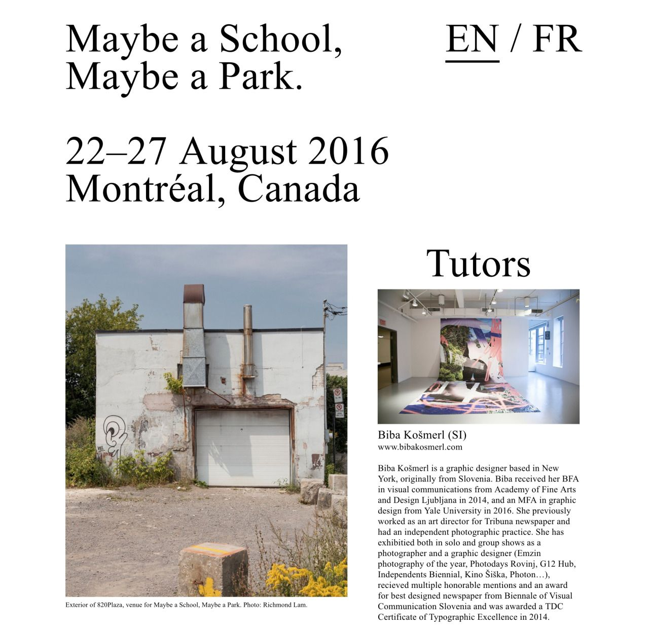 """yalegraphicdesign: """" Maybe a School, Maybe a Park. 22–27 August 2016 Montréal…"""
