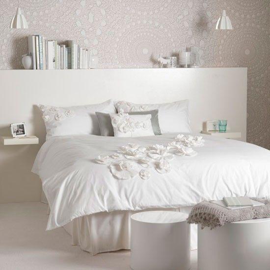 Schlafzimmer komplett weiß spitze effekt wanddeko Ideen rund ums