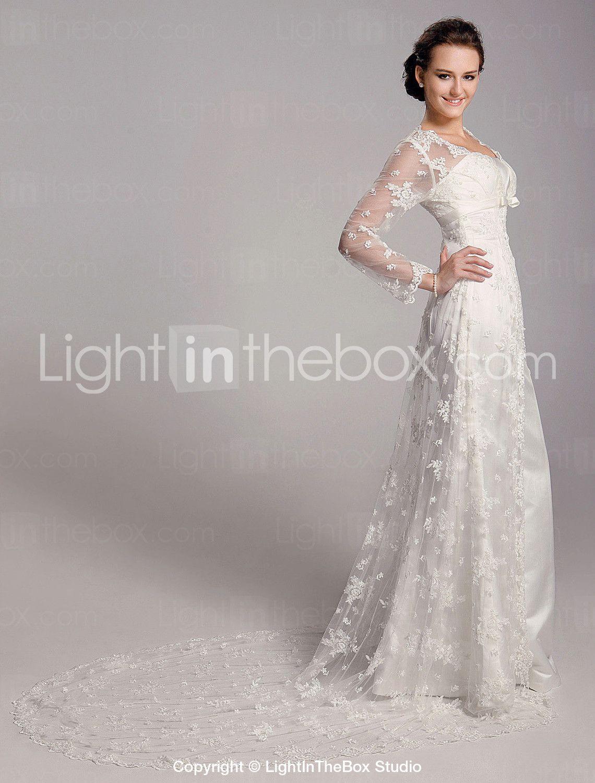 Sheath column square neck sweep brush train lace satin wedding