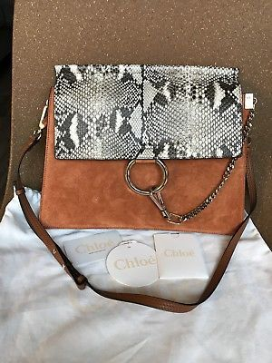 2b0c5093490 Authentic Chloe Faye Medium Python Leather   Suede Shoulder Bag  Chloe   Fashion  FashionAccessories  ChloeShoes  ChloeHandbags  GetTheLook