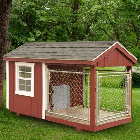 Amish heated red dog kennel 4 x 8 heated dog for Dog run outdoor kennel house