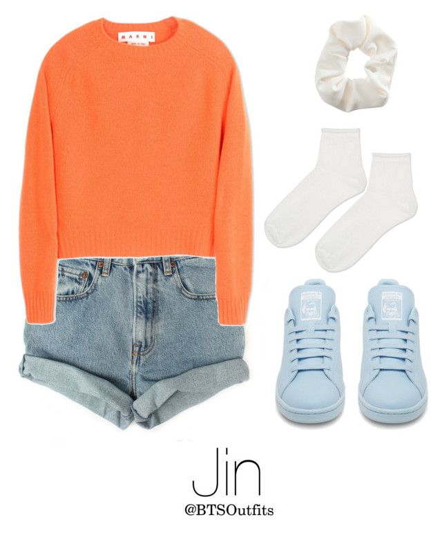 """""""BTS NOW 3 Inspired: Jin"""" by btsoutfits ❤ liked on Polyvore featuring Levi's, Marni, Topshop and adidas"""