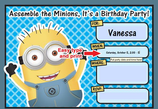 photograph about Free Printable Minion Invitations referred to as minion invitation 2 No cost Printable Despicable Me Minion