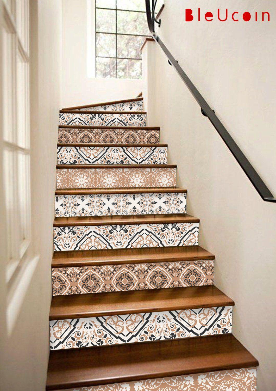 Stair Riser Vinyl Strips Removable Sticker Peel Stick 10 Etsy Stair Riser Vinyl Stair Decals Tile Stairs