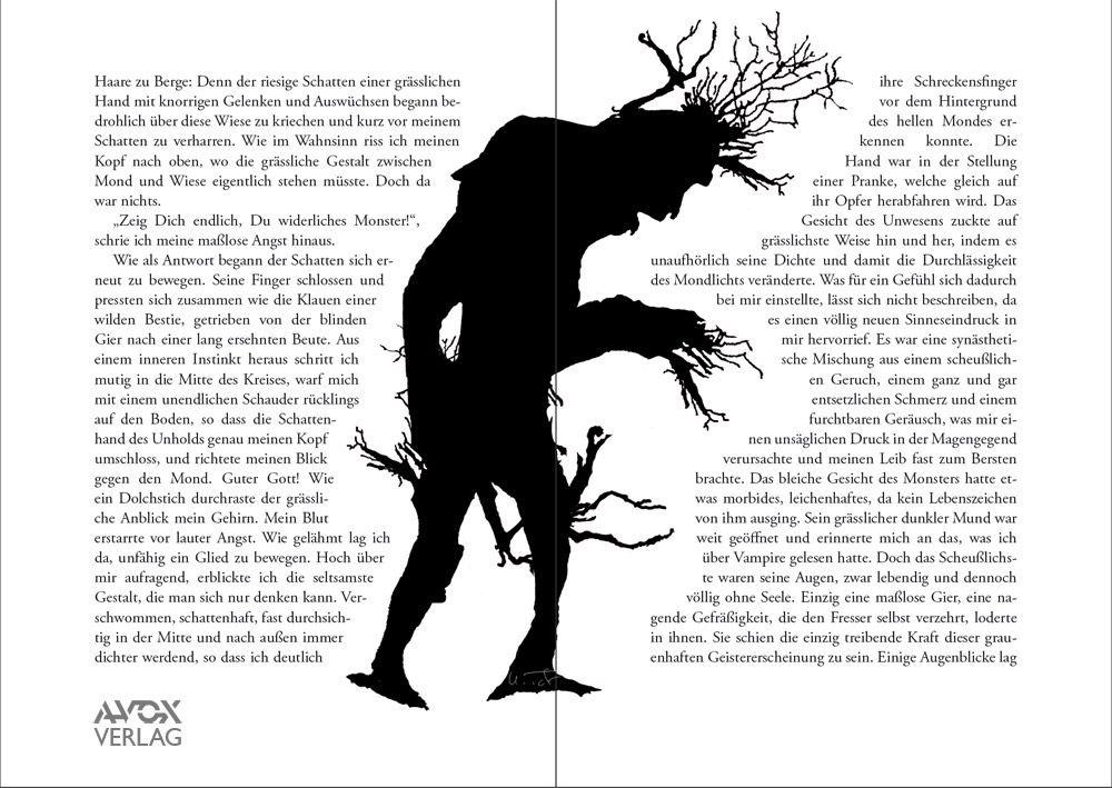 """Illustration von Ulrich Taschow aus: """"TauMond. Ein Märchen für Erwachsene"""", von George MacDonald und Ulrich Taschow. Aus dem Englischen übersetzt, bearbeitet und weitererzählt, basierend auf dem Feenroman """"Phantastes"""" von George MacDonald. Mit 44 fantastischen Illustrationen von John Anster Fitzgerald, Ulrich Taschow u.a. Avox Verlag, 2016. ISBN: 78-3-936979-18-3."""