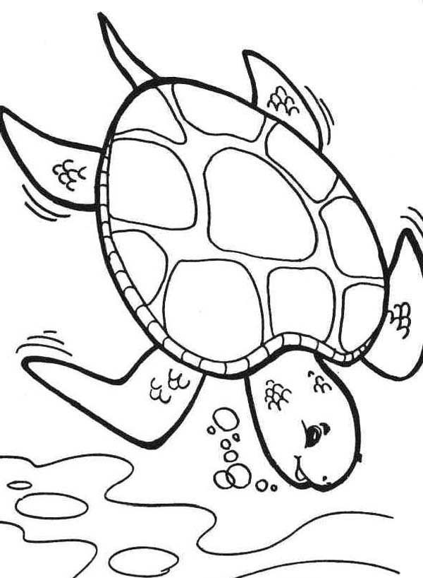 Sea Turtle Diving Deeper Sea Turtle Coloring Page Turtle