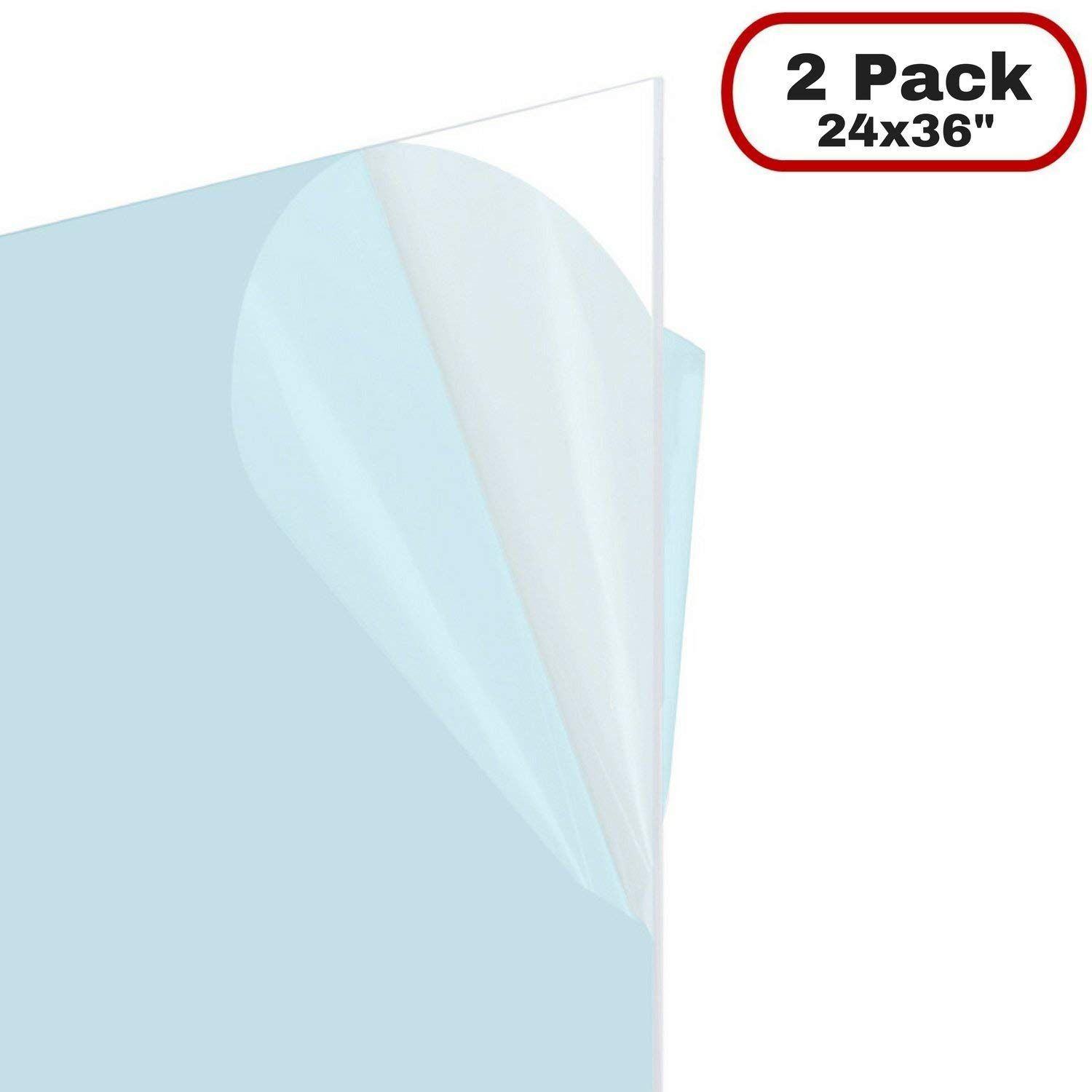 Amazon Com Icona Bay Flexible Clear Plastic Sheet 24x36 Inch 2 Pack 0 03 Thick Multi Purpose Pet Polyethyle Document Frame Poster Frame Glass Material