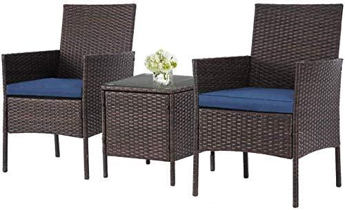 Amazon Com Incbruce Patio Bistro Set 3 Piece Outdoor Wicker Furniture Sets Moder Wicker Outdoor Furniture Set Wicker Patio Furniture Outdoor Wicker Furniture