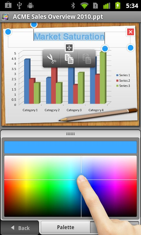 Quickoffice® Pro for Android A built in virtual laser