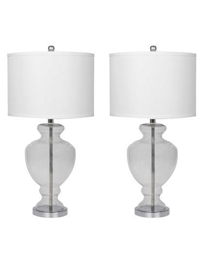 Crystal clear glass table lamp set of 2 by abbyson living at gilt