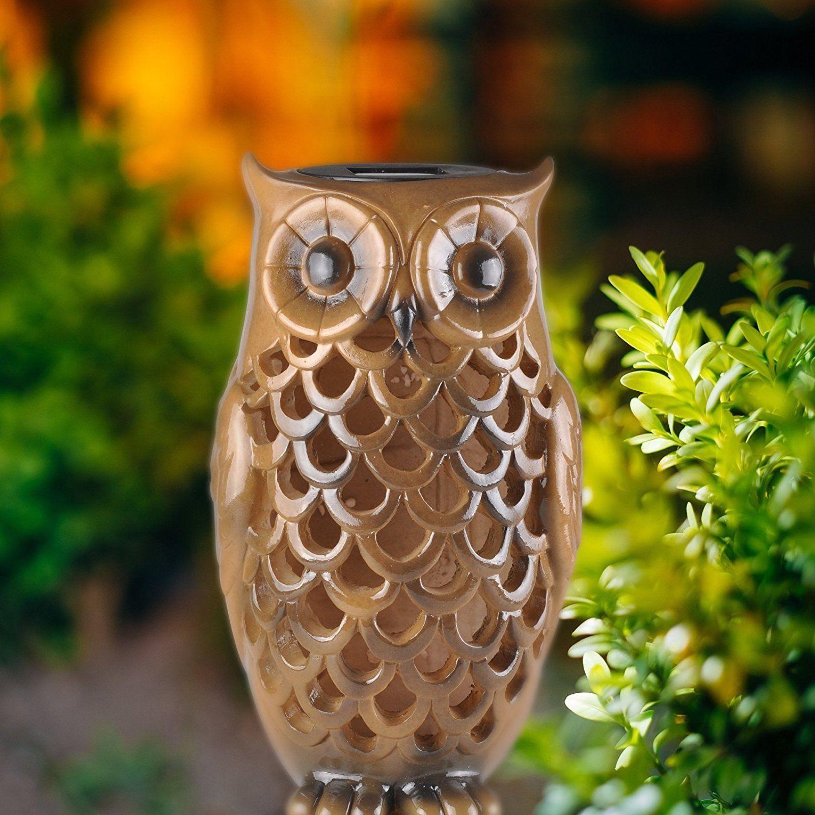 Solar Power Garden Decor Art Yard Owl Statue Outdoor Patio Lawn LED ...