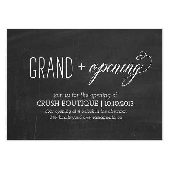 grand opening chalkboard design by Simple te Design Calligraphy - best of invitation card sample for inauguration