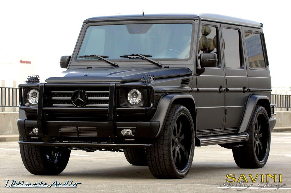 Matte black mercedes g wagon on savini sv 28s wheels for Black mercedes benz g wagon