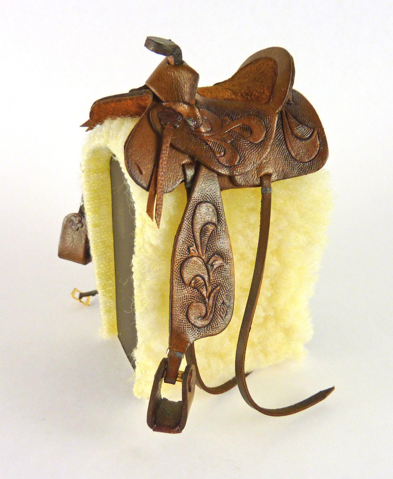 Miniature Brown Leather Western Saddle Handcrafted Prestige Leather 1//12th