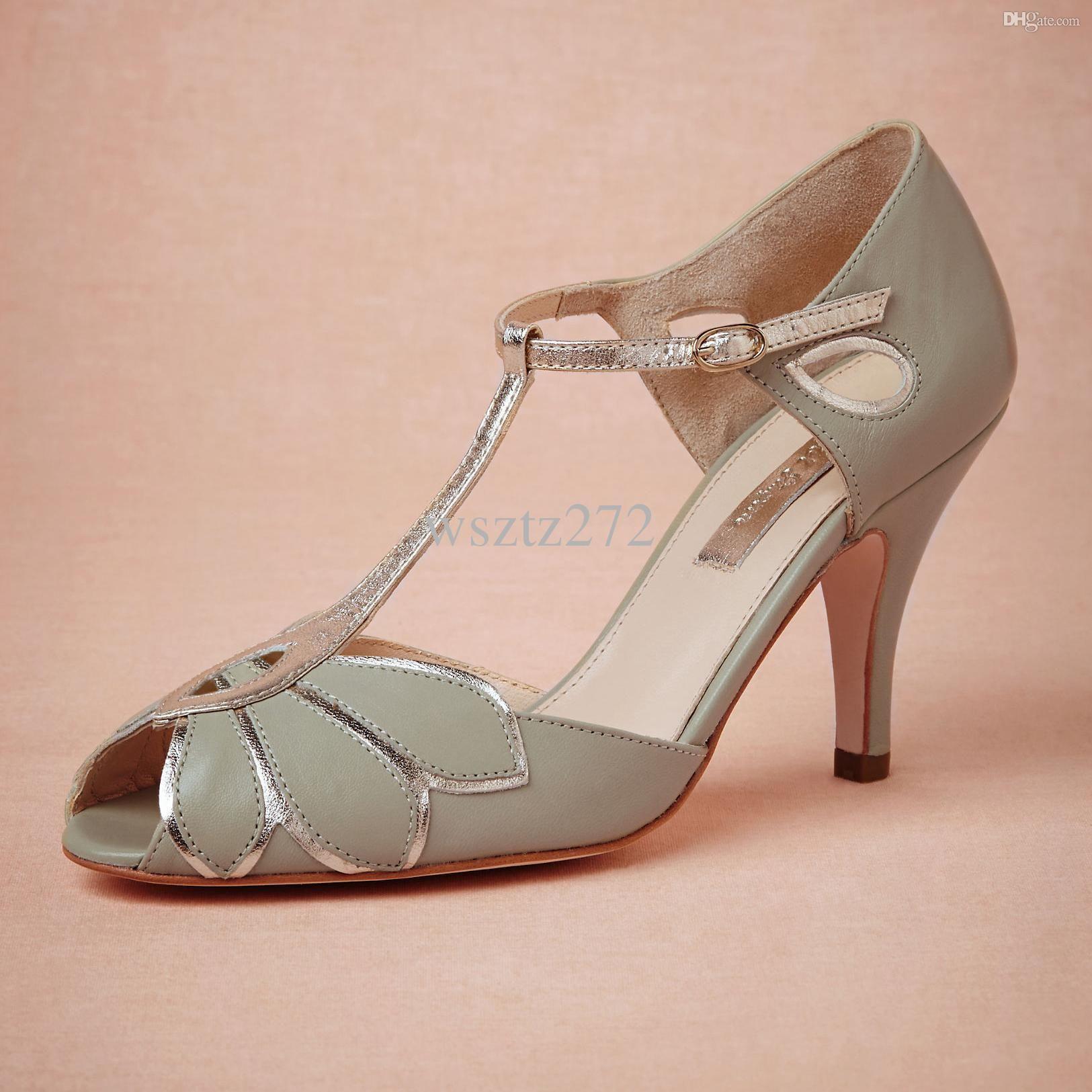 Vintage Mint Wedding Shoes Wedding Pumps Mimosa T Straps Buckle Closure  Leather Party Dance 3 High Heels Women Sandals Short Wedding Boots Bridal Shoes  Size ...