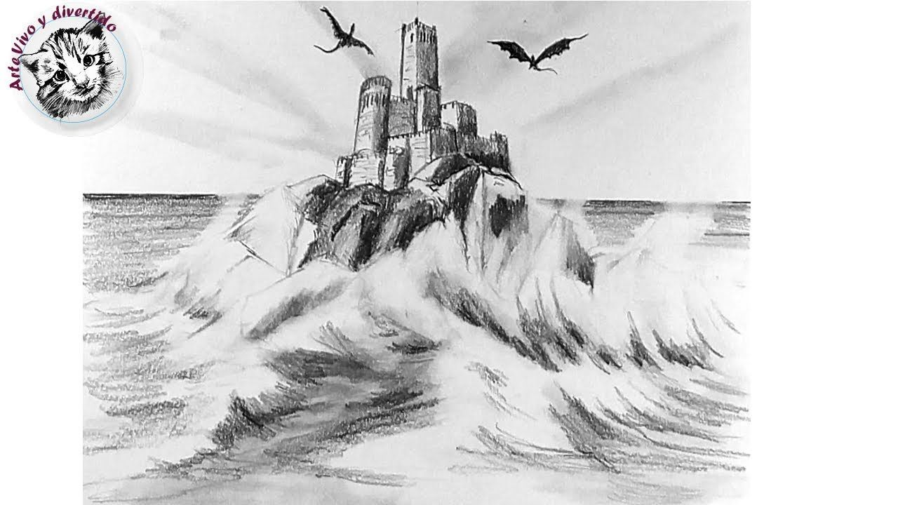 Como Dibujar Un Castillo De Fantasia En Perspectiva De 3 Puntos Muy Faci Como Dibujar Como Dibujar Cosas 3 Puntos De Fuga