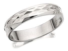 9ct White Gold Diamond Cut Brides Wedding Ring  4mm - 182490  Tried on, is lovely but ?too thin.