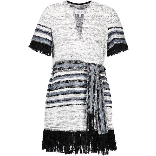 Derek Lam 10 Crosby fringed woven dress (3.400 NOK) ❤ liked on Polyvore featuring dresses, grey, woven dress, key hole dress, 10 crosby derek lam dress, keyhole dress and 10 crosby derek lam