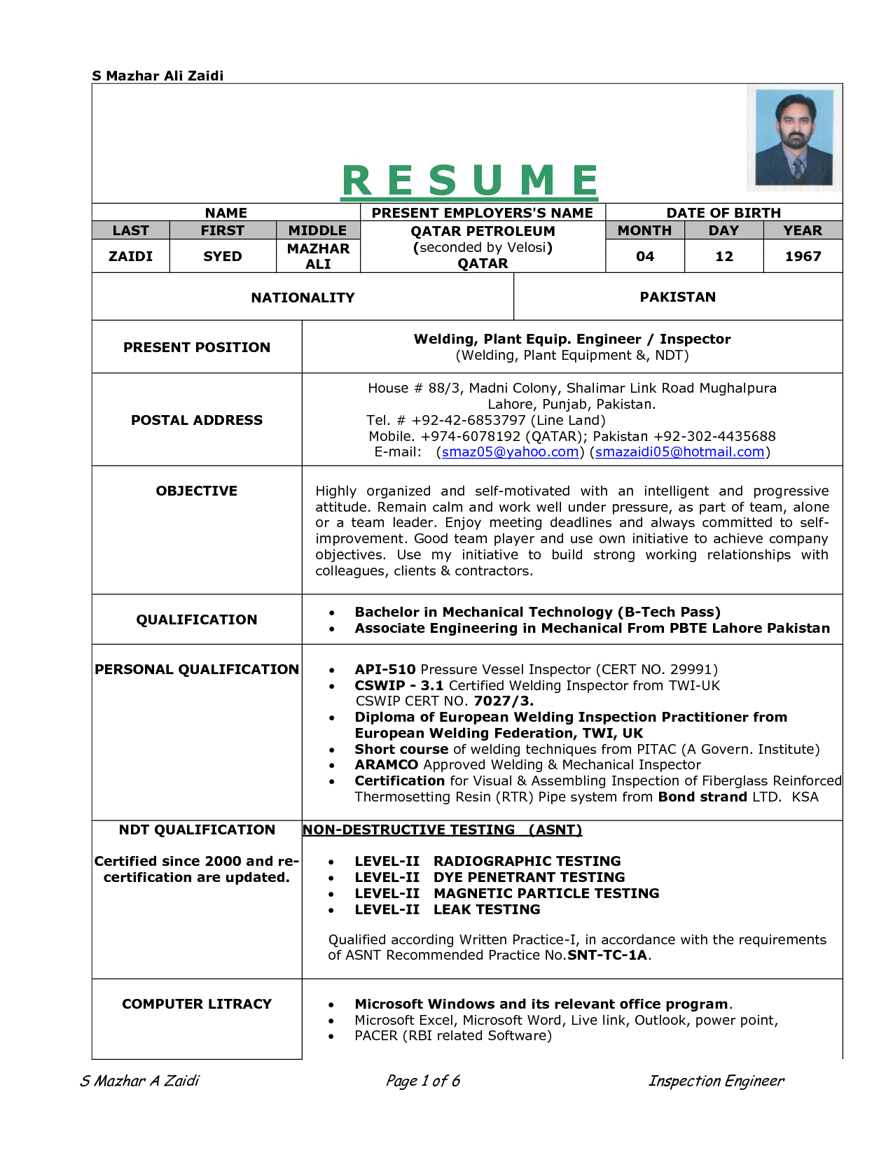 Re Work Procedure Resume.doc Download Legal Documents Re Work Procedure  Resume Document Sample