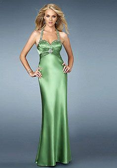 Halter Beaded Satin Pleated Empire Sweetheart Prom Dress picture 1