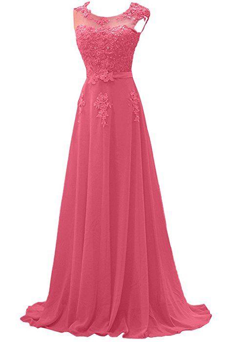 4b0e4f7ba006a0 Gorgeous Bride Modisch Lang Rundkragen A-Linie Chiffon Tuell Spitze  Schleppe Abendkleider Festkleider Ballkleider -40 Wassermelone