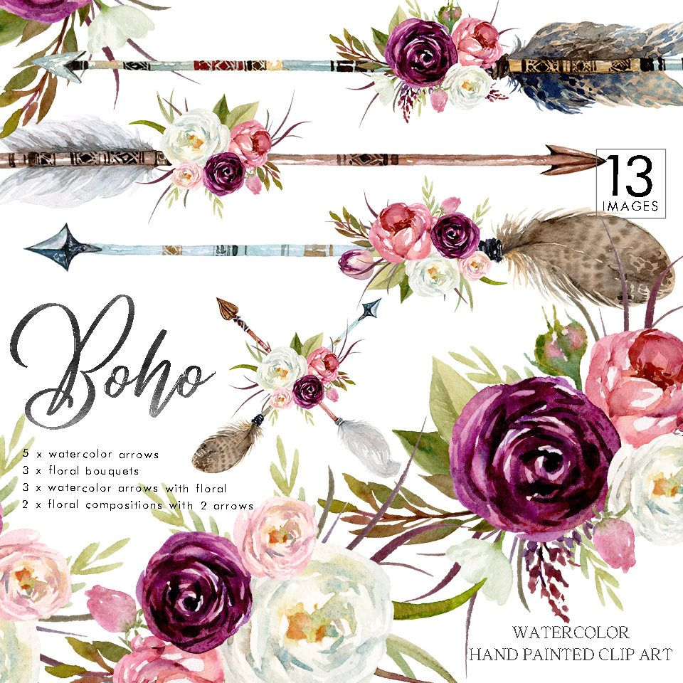 Watercolor Boho Floral Set Arrows Burgundy Flower Bouquets Wedding