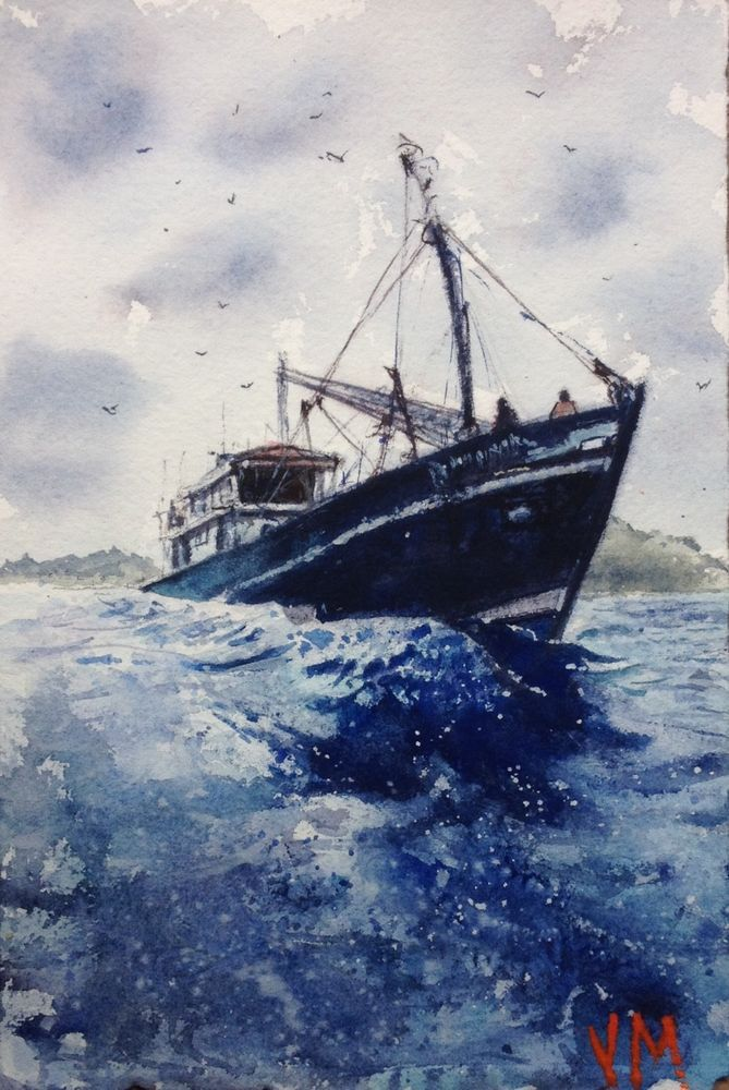 Fishing Boat Original Watercolor Painting 7 1 2 X 5 Original Art