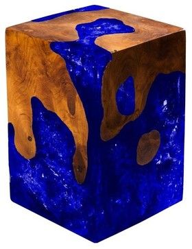 "Custom Cracked Resin Stool/Side Table, Royal Blue, Natural Wood, 24""x24""x24"" contemporary-side-tables-and-end-tables"