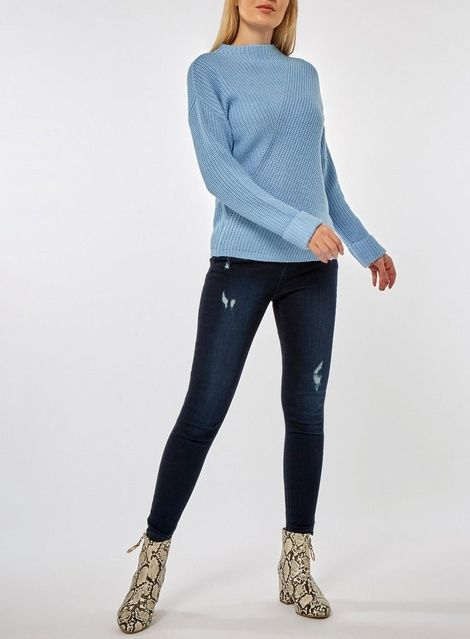 a2828a29910db1 Blue Diagonal Rib High Neck Jumper in 2019 | Products | High neck ...