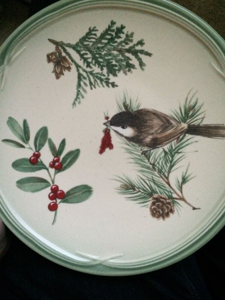 Pfaltzgraff Winterwood Dish Bird Berries Pair