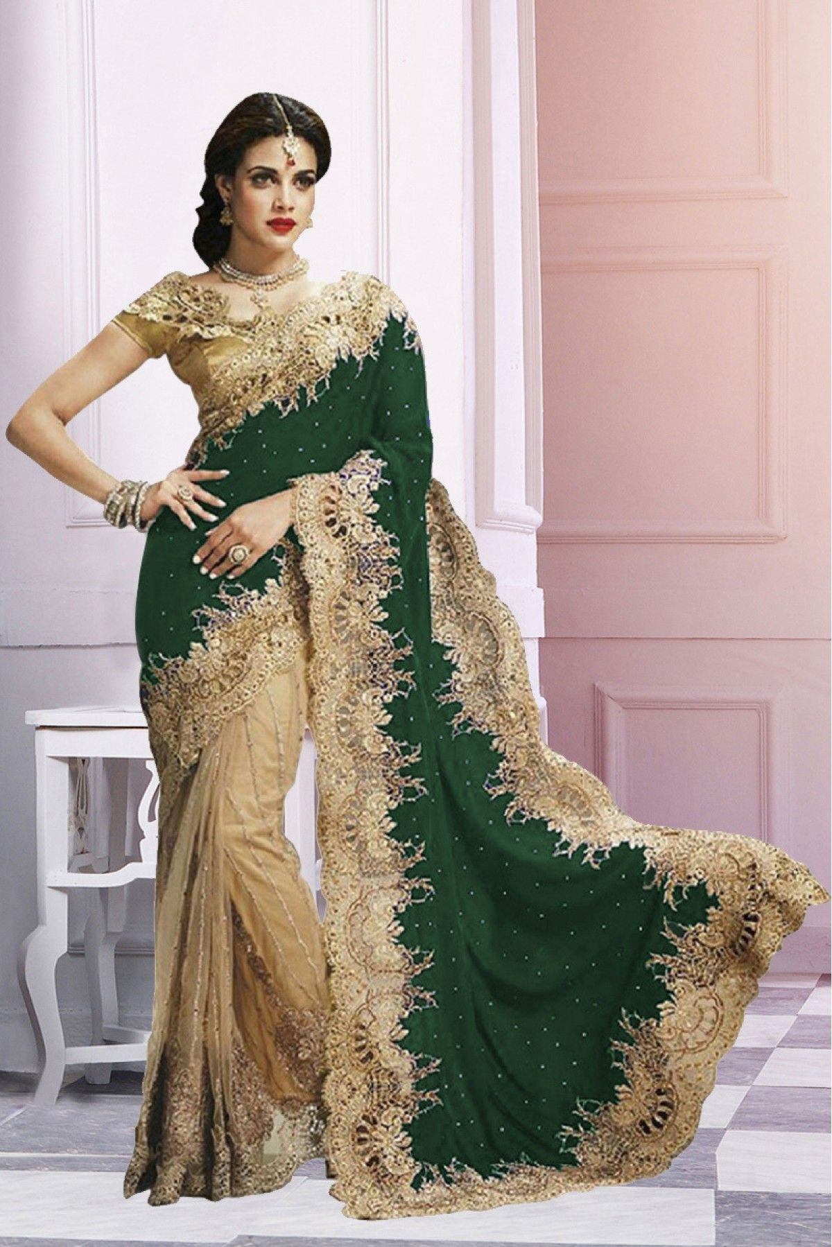 eaff05f04 This is beautiful Net   Velvet saree designed marvelously with Stone