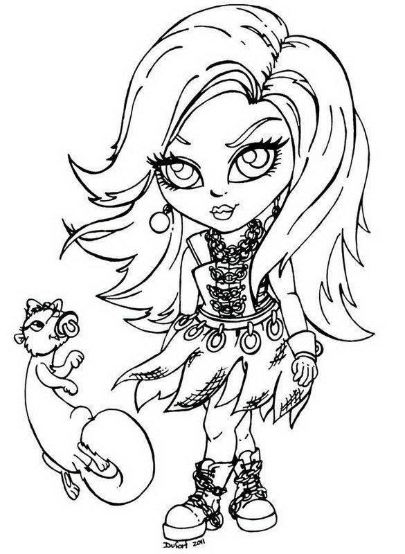 Kleurplaten Baby Monster High.Spectra Vondergeist Little Girl Monster High Coloring Page