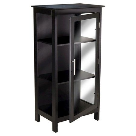 Poppy Display Curio Cabinet With Glass Door Wood Black Winsome