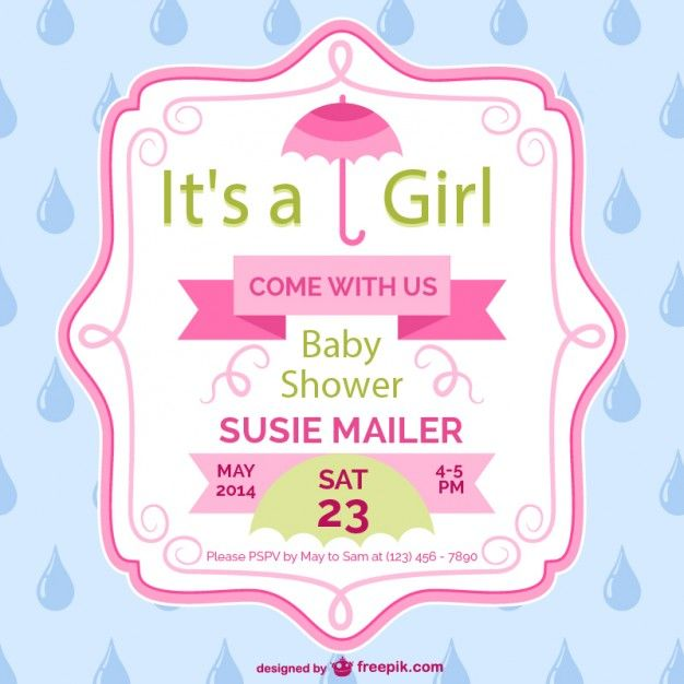 Great Baby Shower Girl Card Template Design  Baby Shower Flyer Template Free